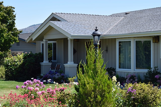 šedý dům, květiny, lampa