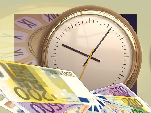 hodiny, eurobankovky